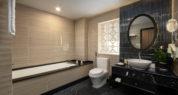 deluxe deep soaking bathtub amenities